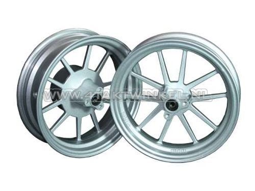 """Wielen-set,-Dax,-12""""-2.75-/-3.50,-tubeless,-10-spaaks,-aluminium,-zilver"""
