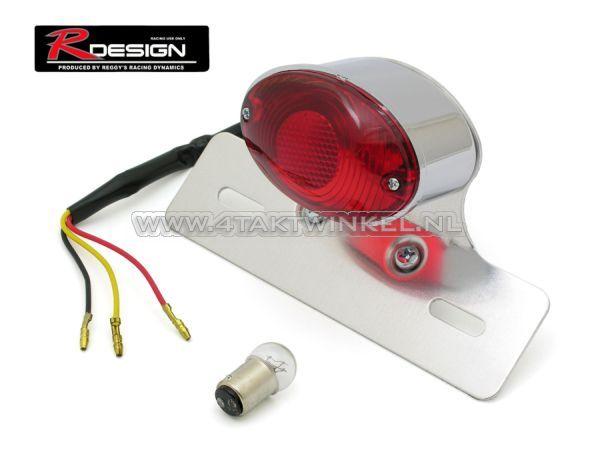 Achterlicht-cateye-enkel,-middel,-rood-glas