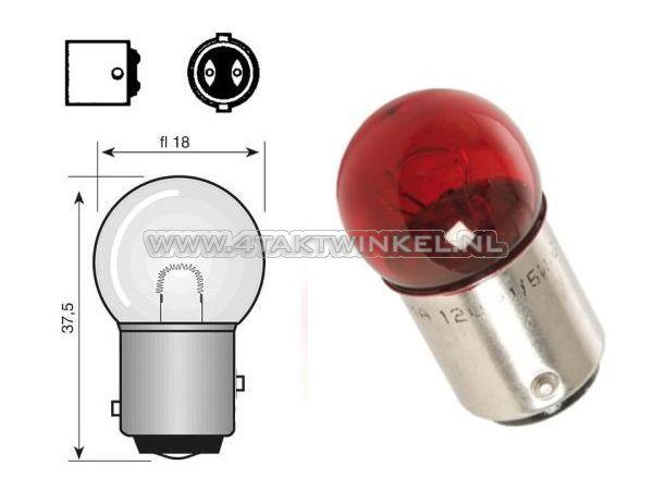 Lamp-achter-duplo-12v-18-5-watt-klein-bolletje-rood-BAY15D
