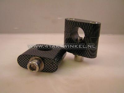 Stuurklemmen / risers, universeel, TNT, 30mm, carbon