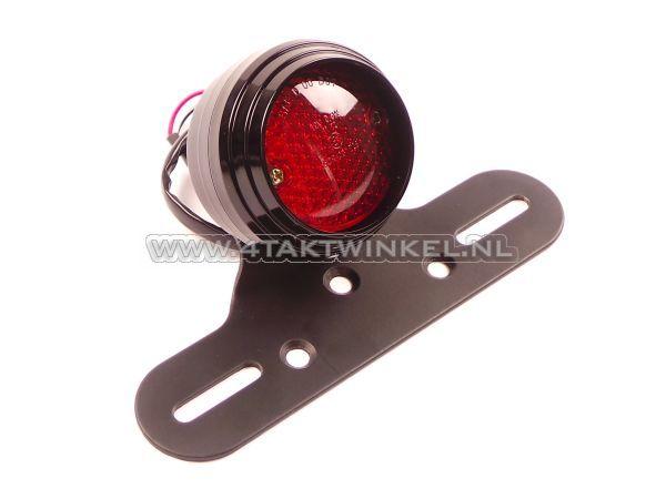 Achterlicht-enkel-70mm-rond,-LED,-rood-glas,-E-keur