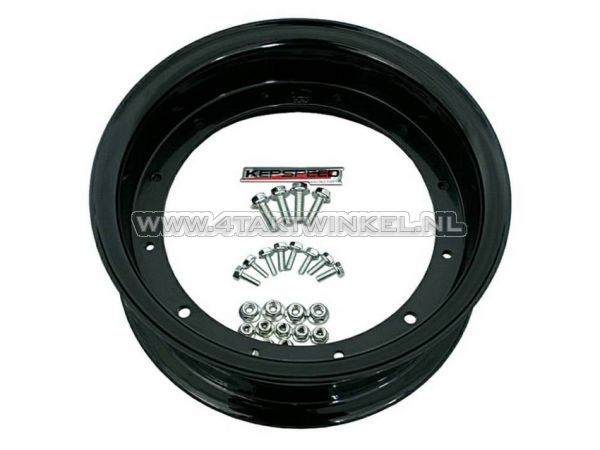 """Velg-Dax-10""""-aluminium,-standaard-look,-3.50,-Kepspeed,-mat-zwart"""
