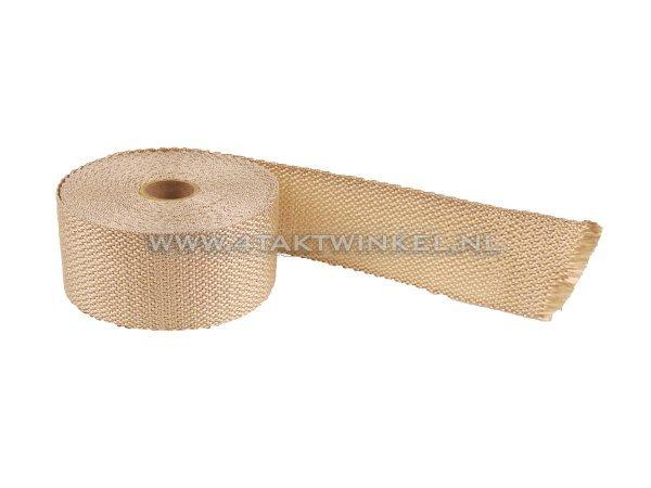 Uitlaat-heat-wrap,-50mm-x-10m,-beige