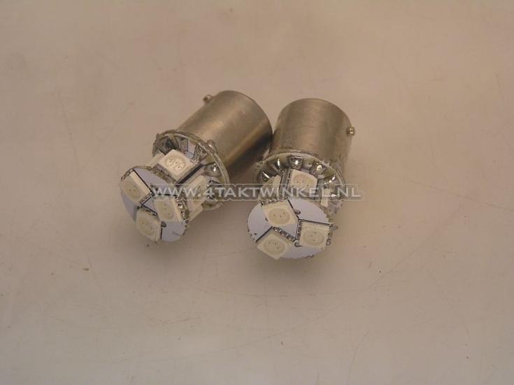 Lamp-enkel-12v-LED-oranje,-BA15-S,-set-van-2