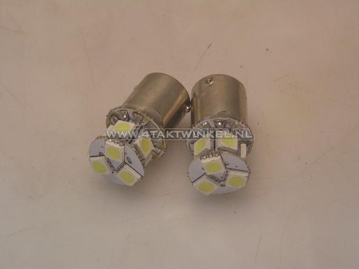 Lamp-enkel-12v-LED-wit,-BA15-S,-set-van-2