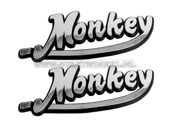 Embleem-Monkey,-set,-zilver