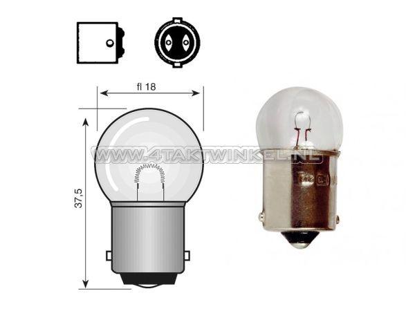 Lamp-enkel-12v-21-watt-klein-bolletje-BA15-S
