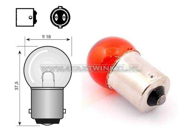 Lamp-enkel-12v-10-watt-klein-bolletje-oranje-BA15-S