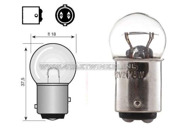 Lamp-achter-duplo-6v-18-5-watt-klein-bolletje-BAY15D
